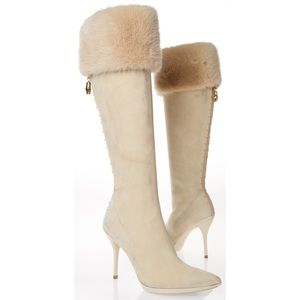 Gucci knee high suede boots
